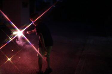 クロスフイルターなら花火からビームが出る。