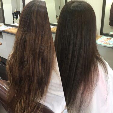 夏で明るくなった髪色を秋色にチェンジ